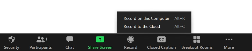 Zoom Conference record button